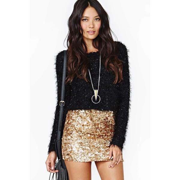 Rare London Gold Crush Sequin Skirt - Polyvore