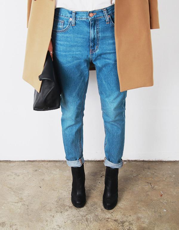 jeans pants blue blue jeans blue pants shoes coat bag