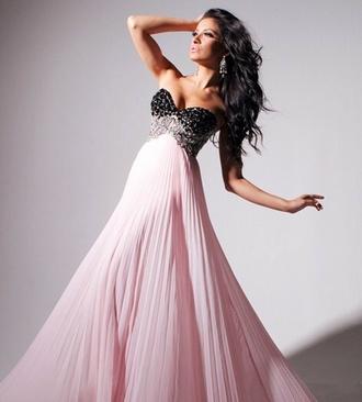 dress prom dress pink dress pink and black maxi dress sparkly dress strapless dress floaty