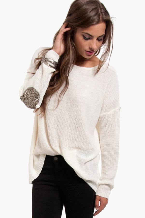 sweater glitter elbow patches silver and black