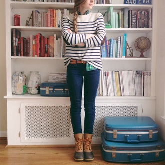 shoes duck boots boots winter boots striped sweater elbow patches blouse