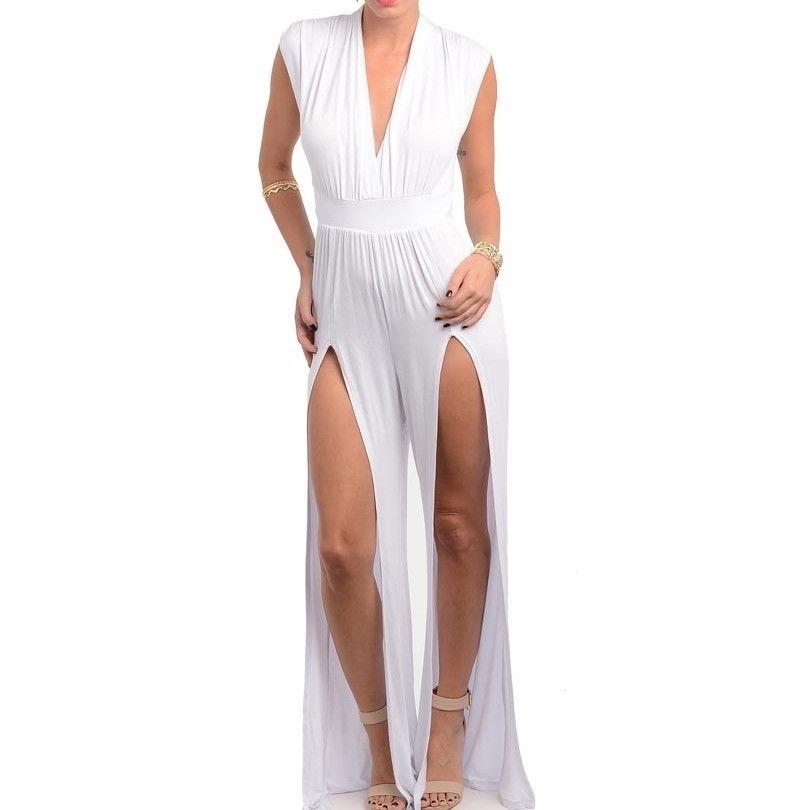 New Women's White Trendy Slit Front V Neck Fashion Jumpsuit Romper One Piece   eBay