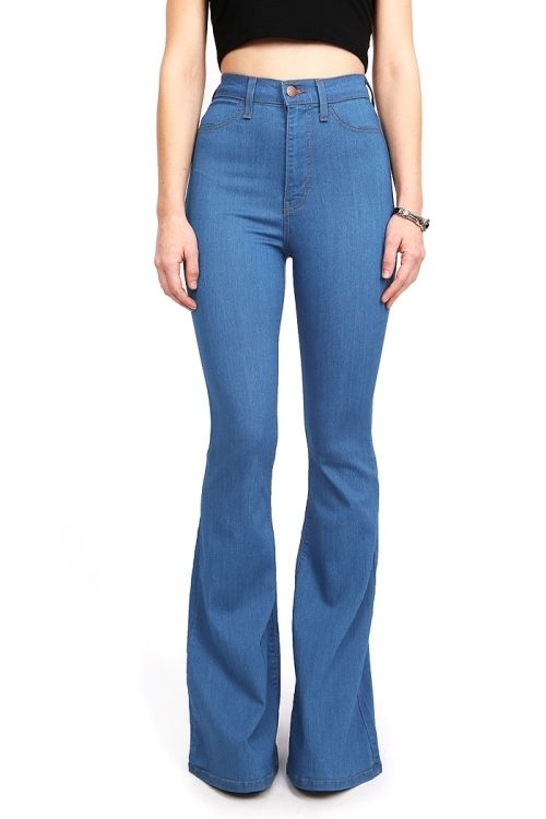 Well-known Womens Vintage High Waist Flared Bell Bottom Jeans Vibrant USA  QR74