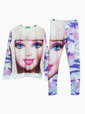 Barbie Sweatershirt And Multi Camo Leggings Sport Two-piece Suit | Choies