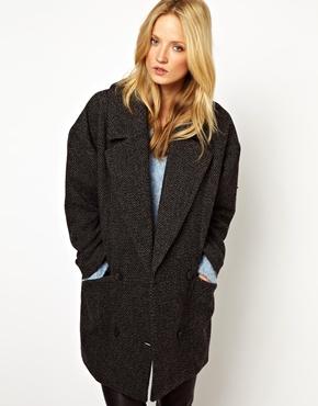Selected   Selected Trish Ovoid Coat in Wool Tweed at ASOS