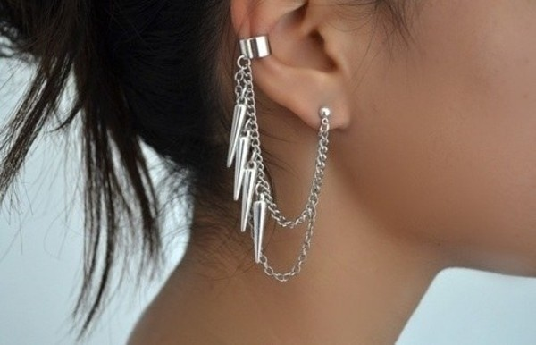 earrings jewels spikes earrings double earring pretty love wear girl style silver jewelry Accessory sliver jewelry silver earrings studs silver statement earrings edgy ear cuff chain cute piercing jewels jewerly ear cuff silver jewelry siver cuff earring hanging
