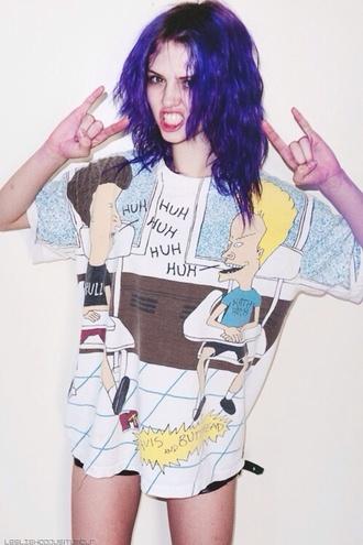shirt colorful grunge t-shirt beavis and butthead grunge beavis and butt-head printed t-shirt