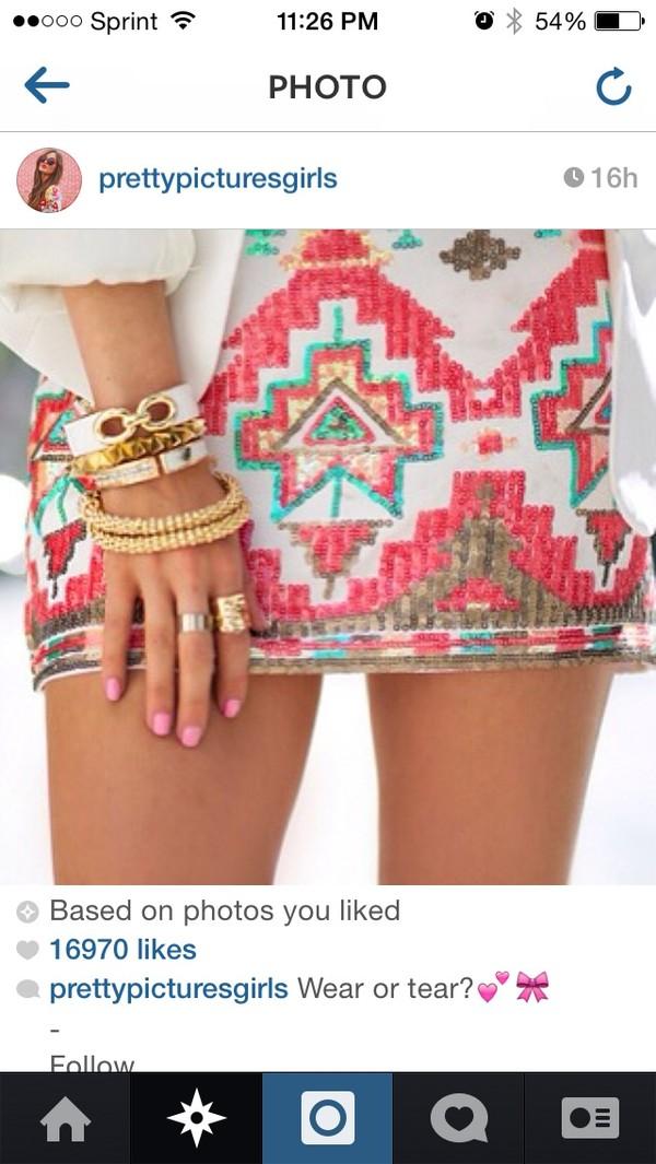 skirt aztec sequin skirt jewels