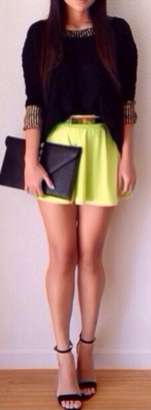 bag black clutch black high heels neon shirt neon yellow t-shirt skirt shoes jacket