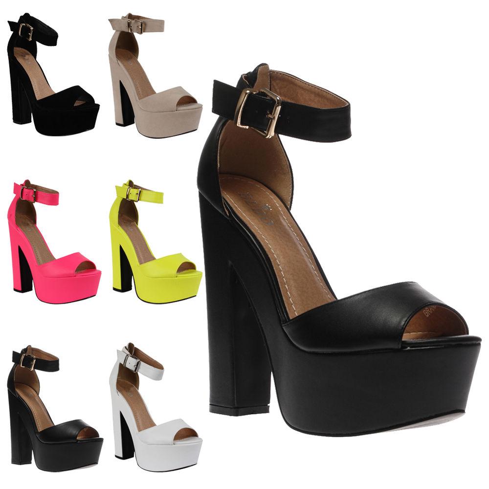 New Ladies Ankle Strap Womens Platform Peep Toe High Heel Sandals Shoes Size 3-8   eBay