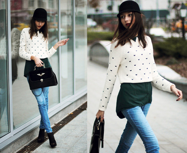sweater romwe cream jumper butterfly