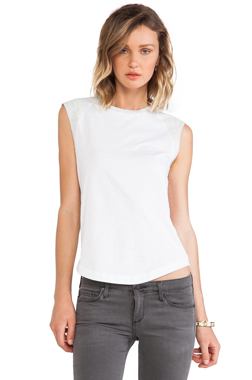 DemyLee Alessandra Tee in White & Light Heather Grey | REVOLVE
