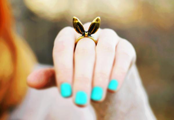 jewels ring bunny ears nail polish easter