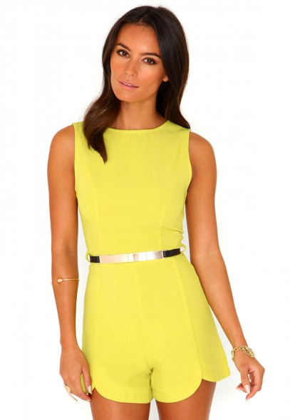Siobhan Textured Belted Playsuit - Playsuits - Missguided