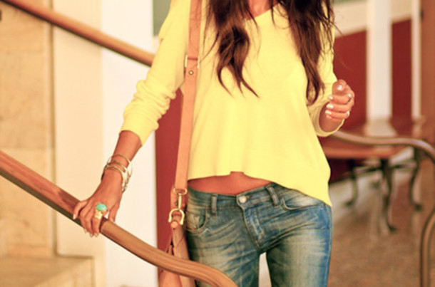 yellow sweater jeans faded jeans brown teal jewels