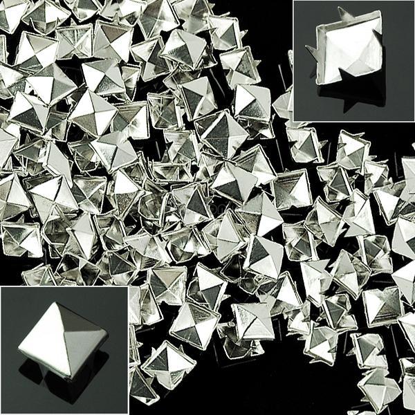 100pcs 10mm Prong Metal Square Pyramid Punk Spike Studs Spots DIY Leathercraft | eBay