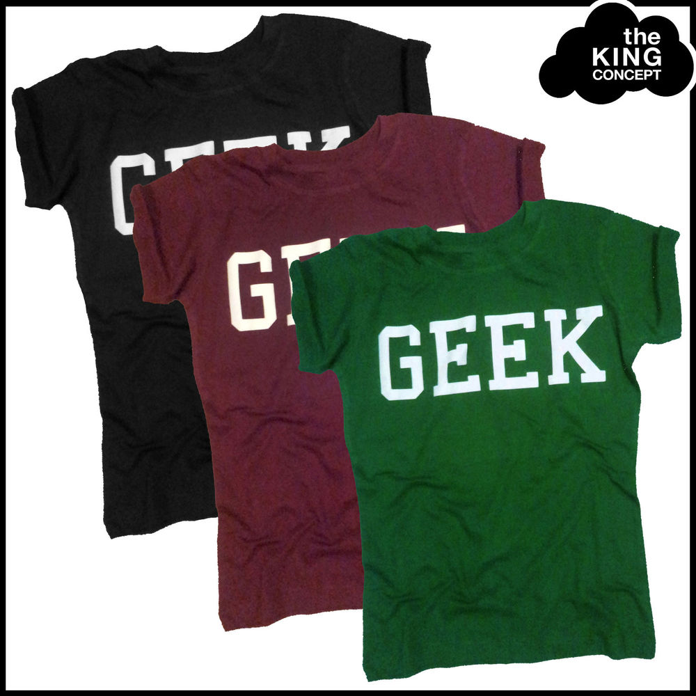Geek T-Shirt Top Black Green Burgundy Size XS S M 6 8 10 Ladies ShopStyle Fitted | eBay