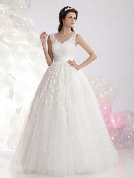 dress ウェディングドレス aライン vネック