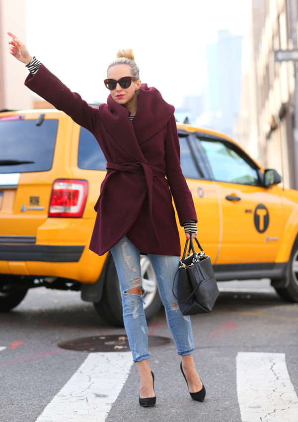 brooklyn blonde coat jeans shoes t-shirt bag