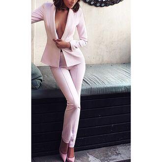 jacket pink jacket women's suit women's pink trousers cropped blazer suit