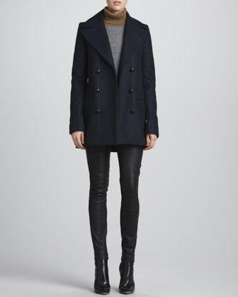 ALC Savannah Felt Pea Coat, Mehai Tricolor Sweater & Misa Leather Skinny Pants - Neiman Marcus