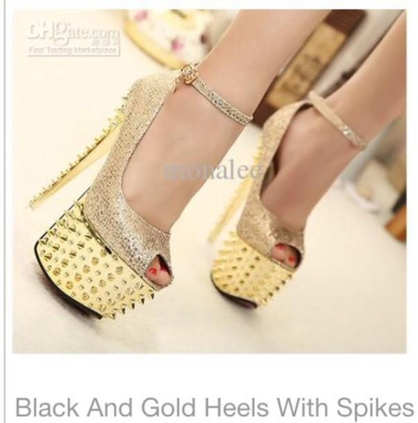 shoes heels gold heels spikes