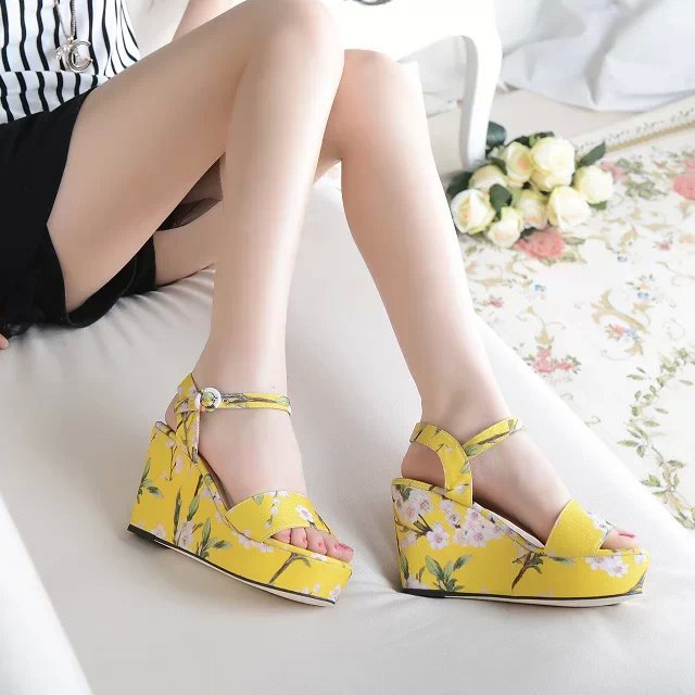 Floral wedge sandals for women,summer printed high heel sandals,2014 brand high quality casual sandals-in Sandals from Shoes on Aliexpress.com