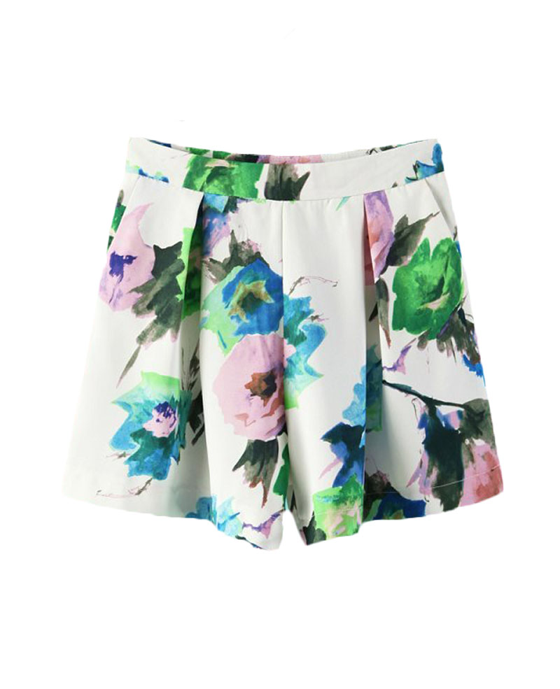 Mid-rise Flowers-printed Shorts   BlackFive