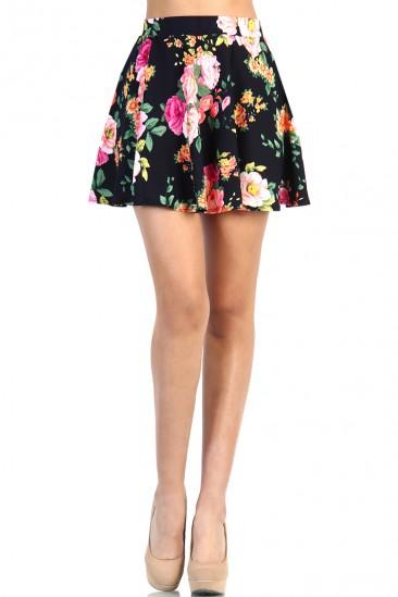 LoveMelrose.com From Harry & Molly | Floral Skater Skirt - Black