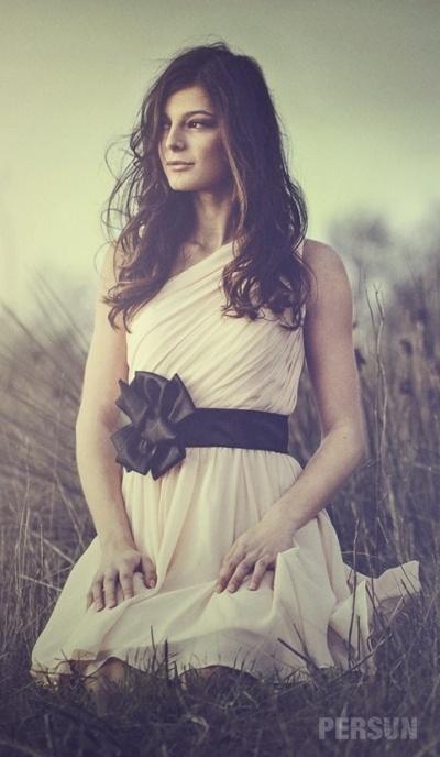 Short Pink tone One shoulder Empire Sash Ruching Bridesmaid dress [BS0008] - PersunMall.com