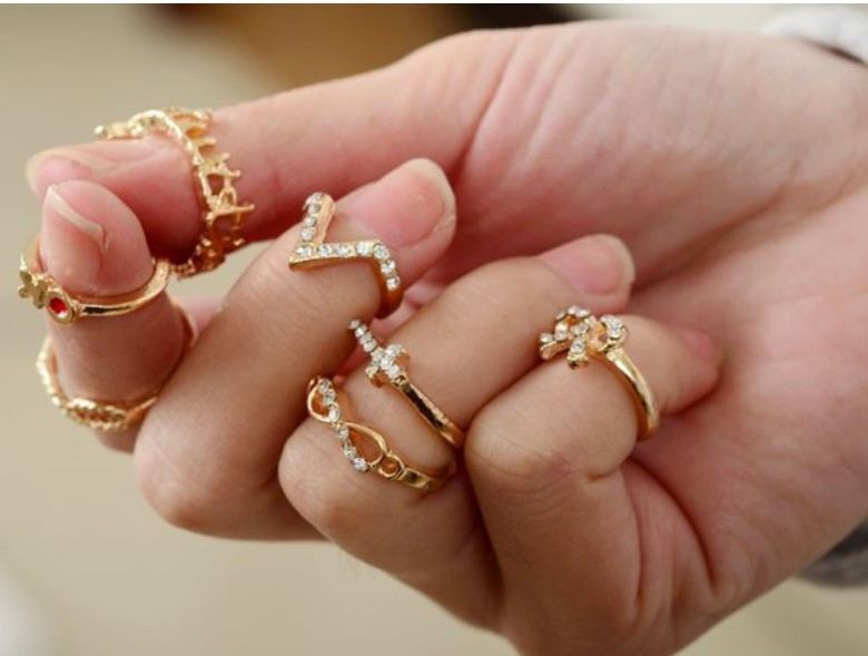 7pcs(1sets) Gold P Punk Bowknot Infinity Cross Crystal Stack Knuckle Midi Mid Rings Set Ring Jewelry JZ 084-in Rings from Jewelry on Aliexpress.com