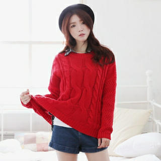 Round-Neck Cable-Knit Top - it's girl | YESSTYLE