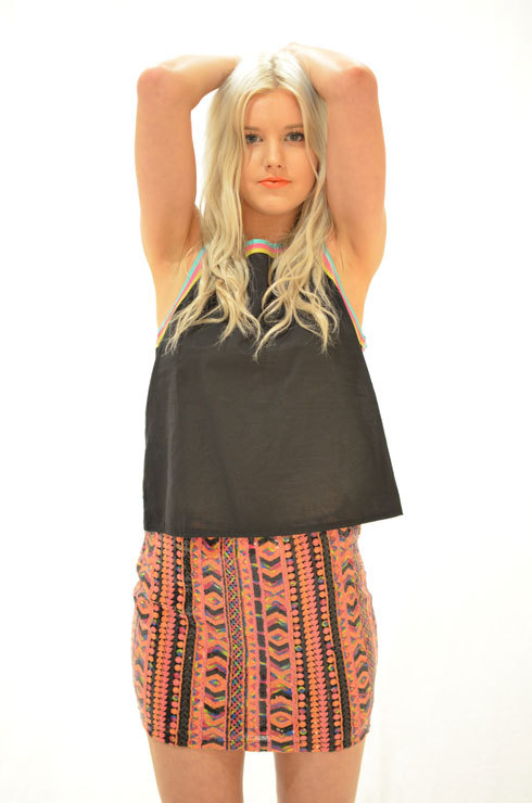 Multi Mini Skirt - Multi-Color Aztec Print Sequin Skirt | UsTrendy