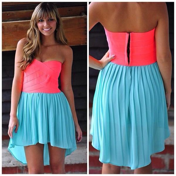 neon sweetheart neckline gown prom