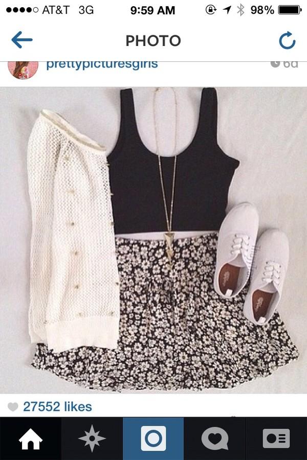 shirt black crop top crop tops cute shoes sweater skirt