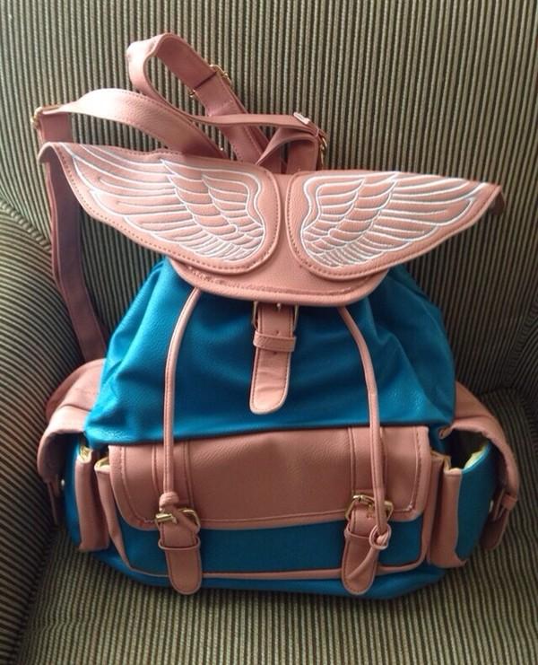 bag wings angel wings backpack bookbag streetstyle