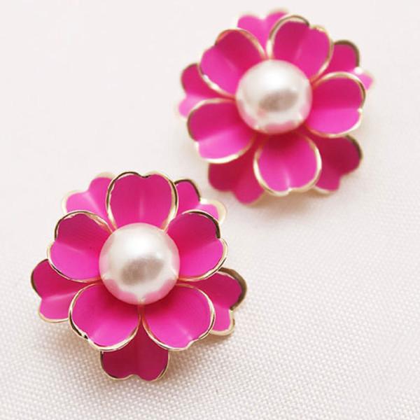 jewels earrings red pearl flowers