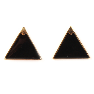 Enamel Triangle Earrings, Neon Black - Hugssy