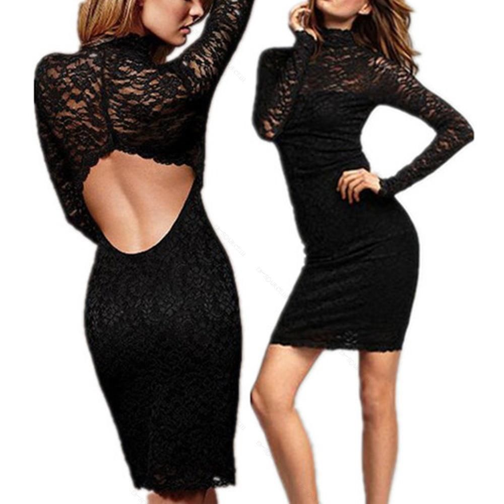 Long Sleeve Open Back Women Sexy Evening Party Mini Dress Cocktail Lace Black | eBay