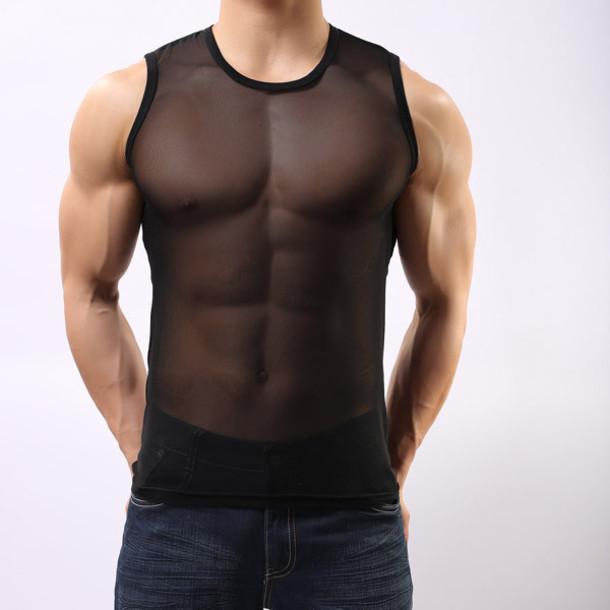 t-shirt sheer underwear mesh top sexy black top menswear sportswear