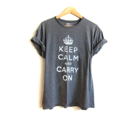 Supermarket - Keep Calm and Carry On - Hand STENCILED Rolled Cuffs Tee in Heather Grey or Custom Pick a Color  from Alyssa Zukas