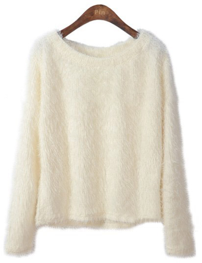 White Long Sleeve Plush Pullovers Sweater - Sheinside.com