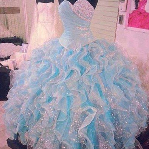 dress blue dress cinderella girly la glitter blue and pink with sparkles quince dress light blue dress sparkly dress tulle dress bleu glitter sparkle layered frilly princess dress crystal pastel puffy baby blue prom dress