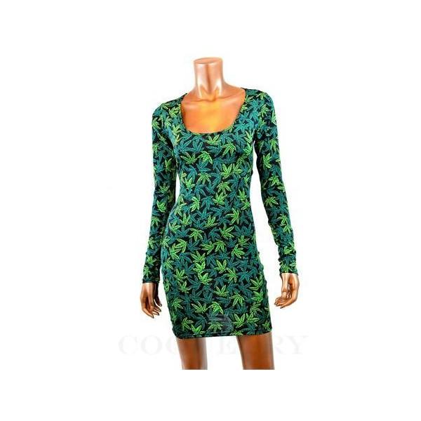 Pot Weed Marijuana Print Long Sleeve Bodycon Dress - Polyvore