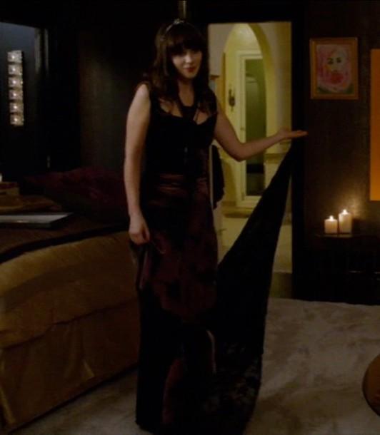 zooey deschanel brown dress velvet dress new girl dress