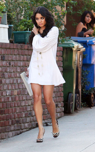 vanessa hudgens white dress dress boho celebrity bohemian white short