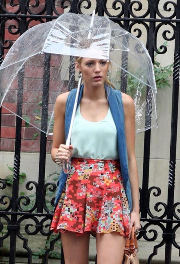jewels umbrella blake lively gossip girl see through see through umbrella plastic shorts shirt