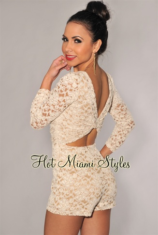 Cream Lace Nude Illusion Knotted Key-Hole Back 3/4 Sleeves Romper