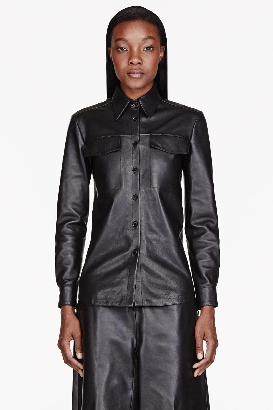 yang li black and burgundy knit_back leather shirt