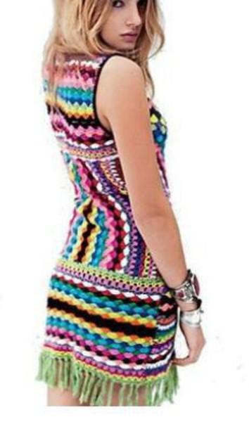 dress crochet dress knee length dress colorful